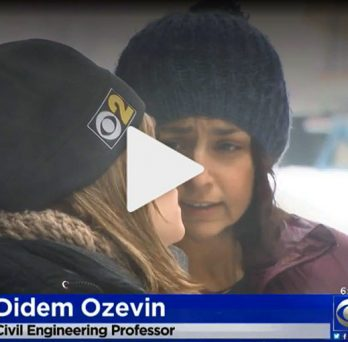 Professor Didem Ozevin talks with reporter