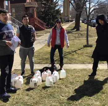 UIC students doing flood project