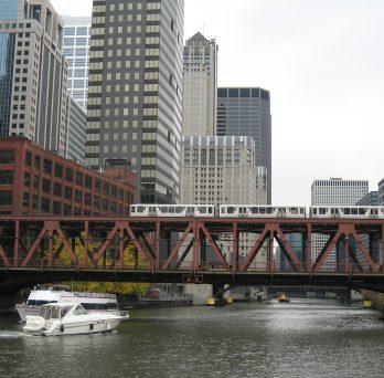 Chicago bridge with train on top