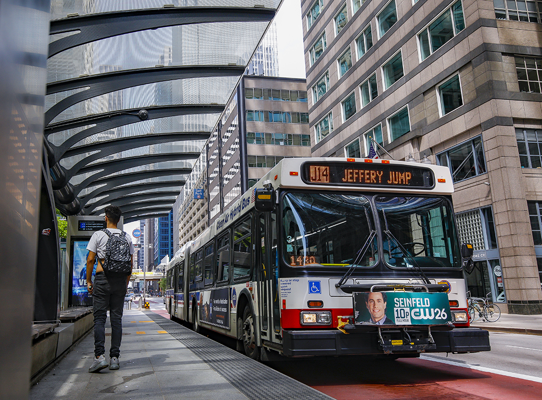Chicago bus with very few passengers